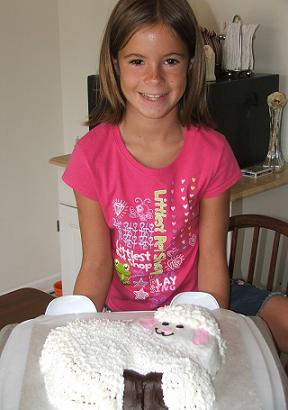 girl with finished lamb cake image