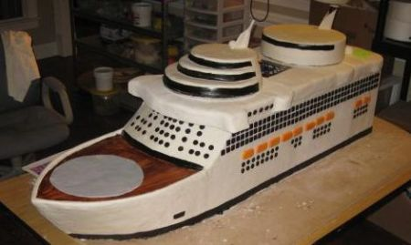 almost finished cruise ship cake image