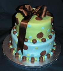 blue brown baby shower cake image