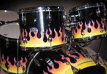 drums with flames image