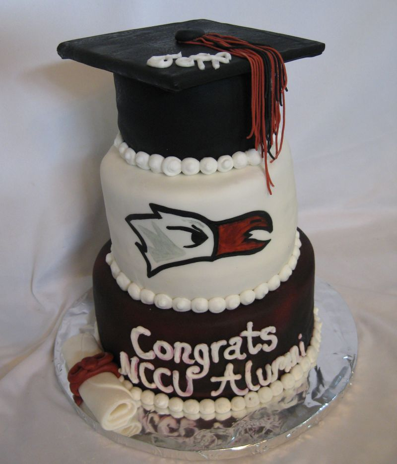 Red And Navy Two Tier Graduation Cakes