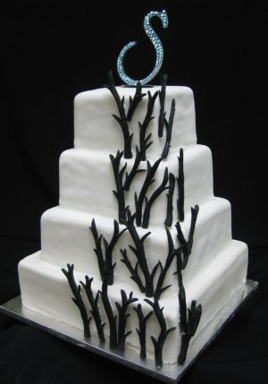 modern square wedding cake image