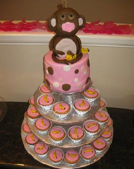 monkey baby shower cake image