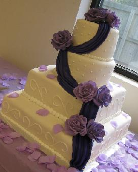 square and round wedding cakes image