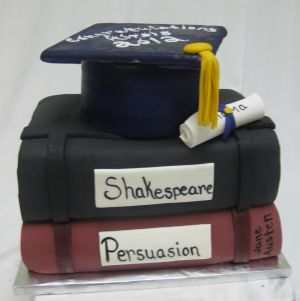 stack of books graduation cake image