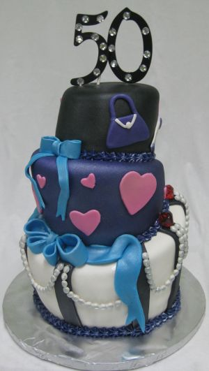 topsy turvy 50th birthday cake image