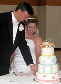 wedding cake cutting image