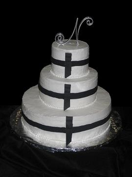 black and white wedding cake image