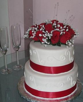 wedding cake with roses image